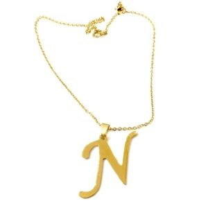 Jewelry - 10 Inch Gold Stainless Steel Initial N Necklace